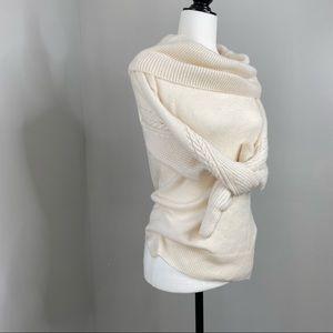 Topshop (2) Puff Off Shoulder Sleeve Cream Sweater
